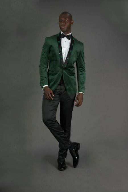 Mens Green Peak Lapel Slim Fit One Button Jacket