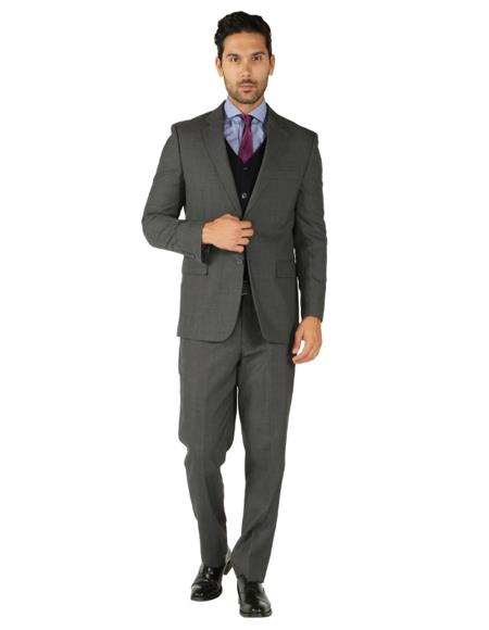 Charcoal Grey 2 Button 3 Piece Vested Suit + Black Vest Slim Fit or Regular Fit
