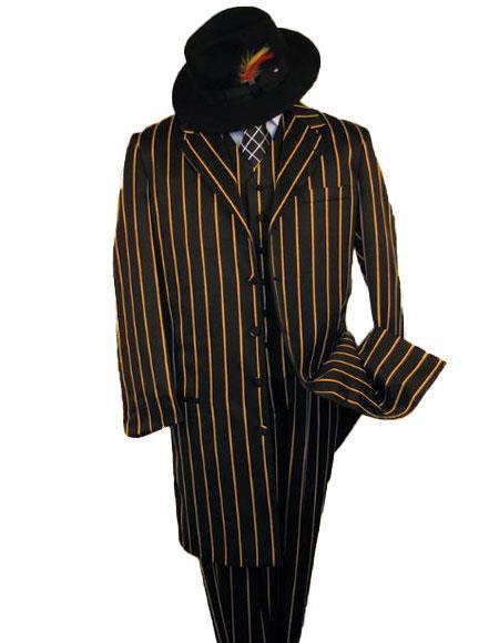 Black And Gold Pronounce Fashion Longe Zoot Suit - Pimp Suit - Zuit Suit for Men