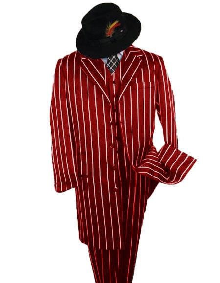 Mens Red And White Stripe Zoot Suit - Pimp Suit