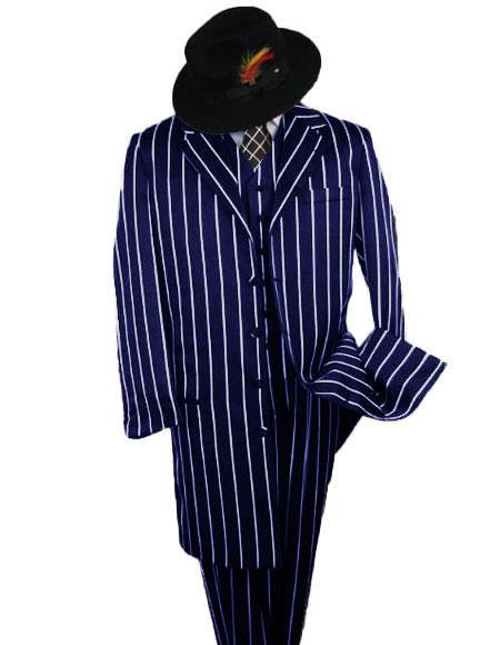 ID#KA29157 SHIMMERY GANGSTER Black And Bold Pronounce Navy Blue ~ White Pinstripe Fashion Long Zoot Suit Pre order For September/1/2020