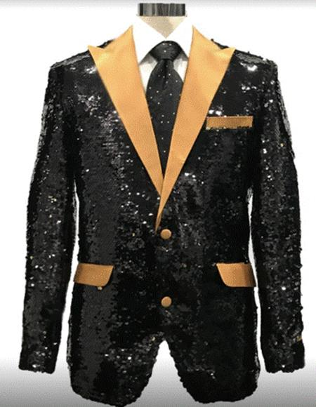 Black And Gold Lapel Sequin Fabric Tuxedo Dinner Jacket Fashion  / Prom Blazer Two Toned