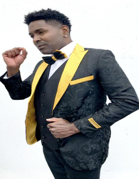 Black paisley Fabric And Gold Lapel Tuxedo Dinner Jacket Fashion  / Prom Blazer Two Toned