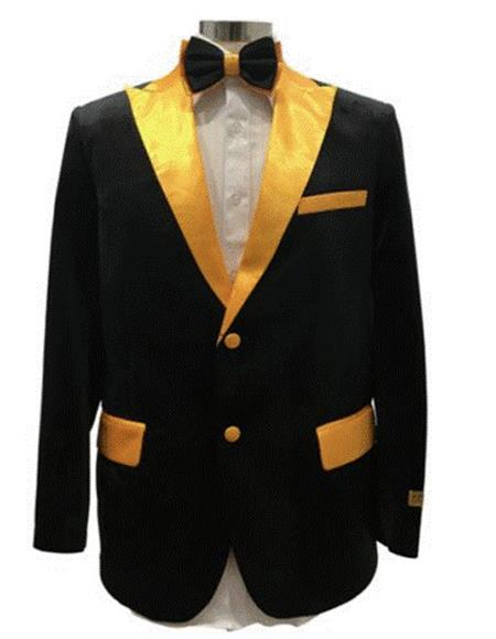 Black And Gold Velvet Fabric Tuxedo Dinner Jacket Free Matching bowtie Fashion  / Prom  Blazer Two Toned