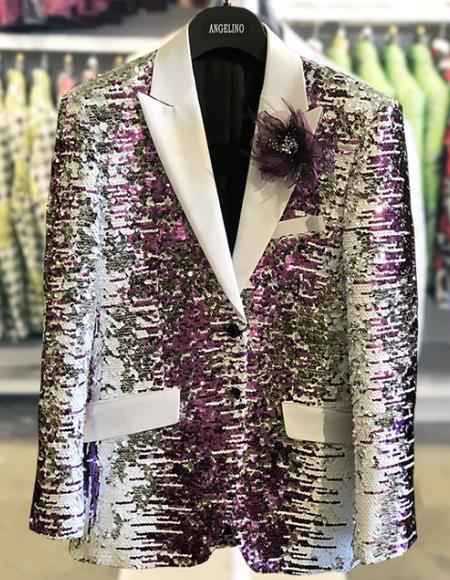 White And Purple Blazer Sequin Fancy Fashion tuxedo Jacket