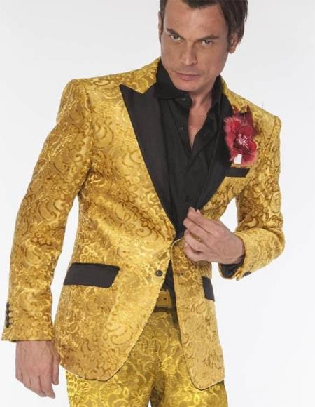 Gold Tuxedo Vested 3 Pieced Suit
