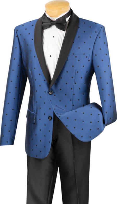 Blue Polka-Dot Pattern Shawl Lapel Two Button Tuxedo for Men's