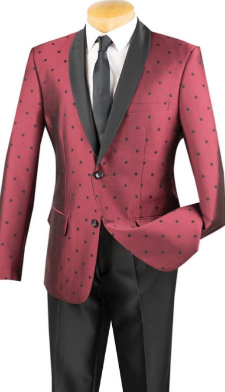 Burgundy Polka-Dot Pattern Single Breasted Tuxedo for Mens