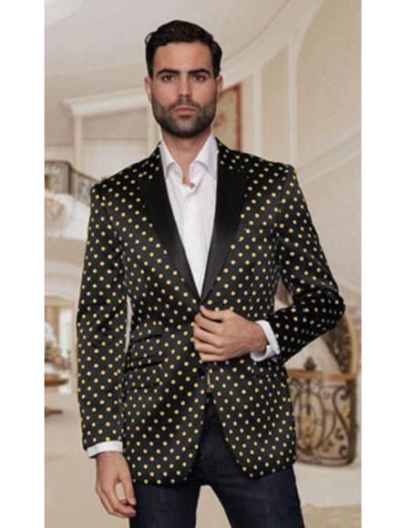 polka dot pattern Fancy Fashion Black And Gold Blazer Tuxedo Dinner Jacket