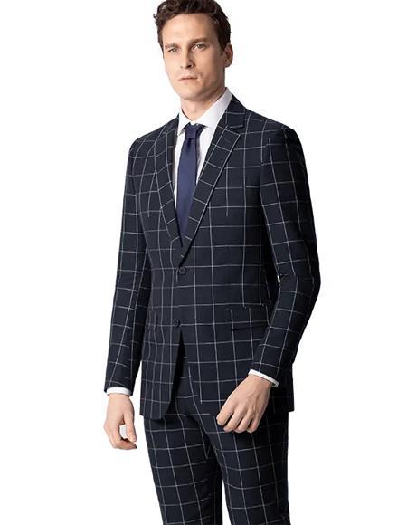 Black Window Pane Plaid Wool Checkered Suit