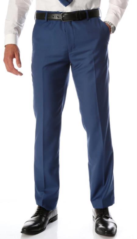 Mens Indigo Slim Fit Flat-Front Mens Dress Pants - Cheap Priced Dress Slacks For Men On Sale