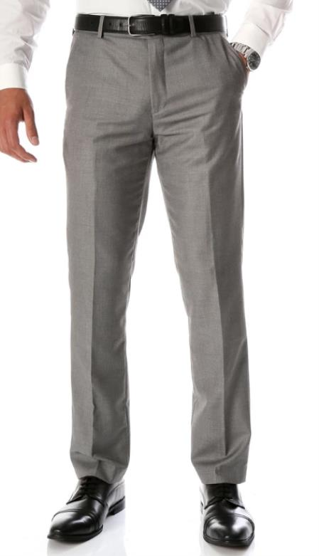 Mens Grey Slim Fit Flat-Front Dress Pants