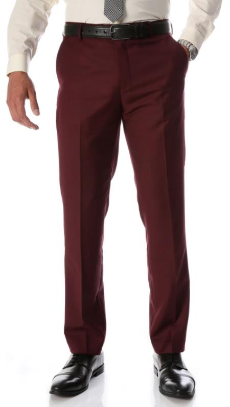 Mens Burgundy Slim Fit Flat-Front Mens Dress Pants - Cheap Priced Dress Slacks For Men On Sale