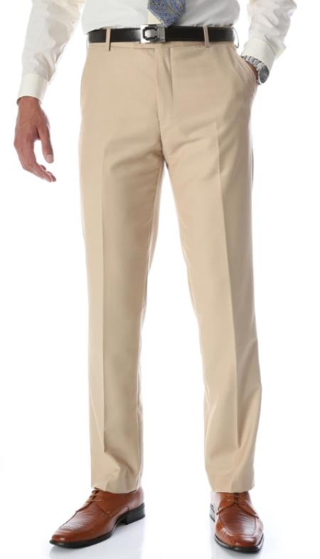 Mens Tan Slim Fit Flat-Front Dress Mens Tapered Mens Dress Pants - Cheap Priced Dress Slacks For Men On Sale