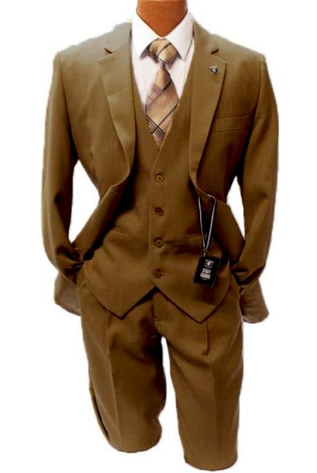 Stacy Adams Taupe Vested Classic Fit Suit