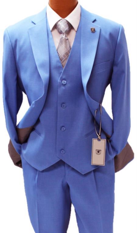 Stacy Adams Blue Vested Classic Fit Suit