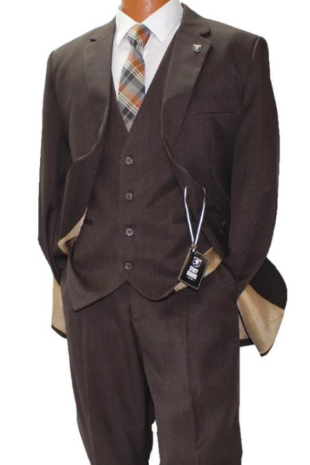 Stacy Adams Brown Vested Classic Fit Suit