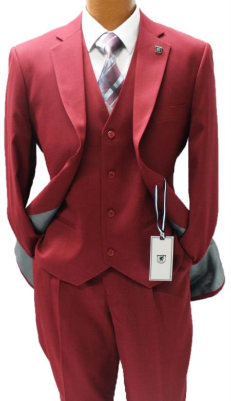 Stacy Adams Burgundy Vested Classic Fit Burgundy  Suit