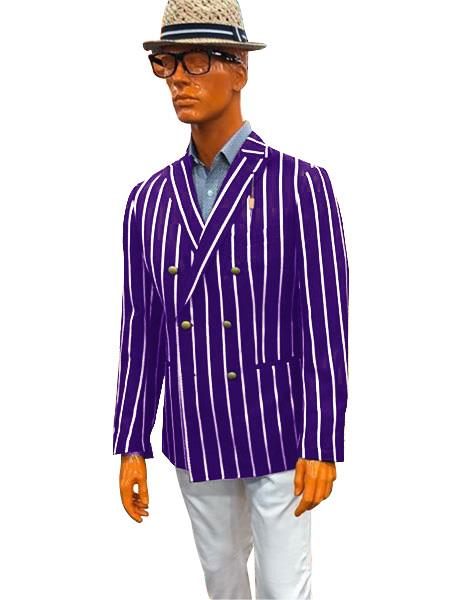 Men's Double Breasted With Brass Buttons Bold Stripe Blazer Sport Coat