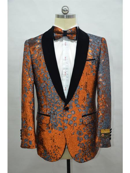 Orange Tuxedo Dinner Jacket Fashion Sport Coat Shiny Blazer Two Toned Paisley Floral Blazer + Matching Bowtie Included