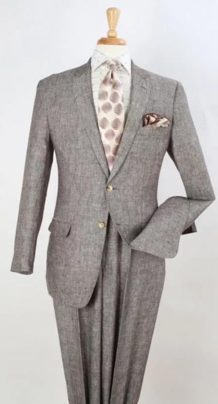 Apollo King Suit Taupe ~ Light Brown ~ Dark Tan Linen Fabric Suit