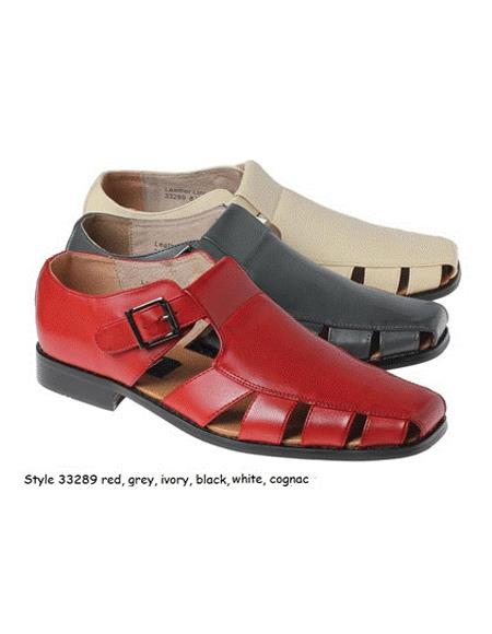 Style#JA17480 Mens Dress Sandals Leather Upper Available Black or Navy or Red or White or Grey