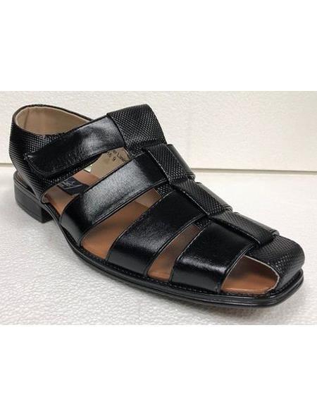 Style#JA17483 Mens Dress Sandals Black Texture Closed Toe