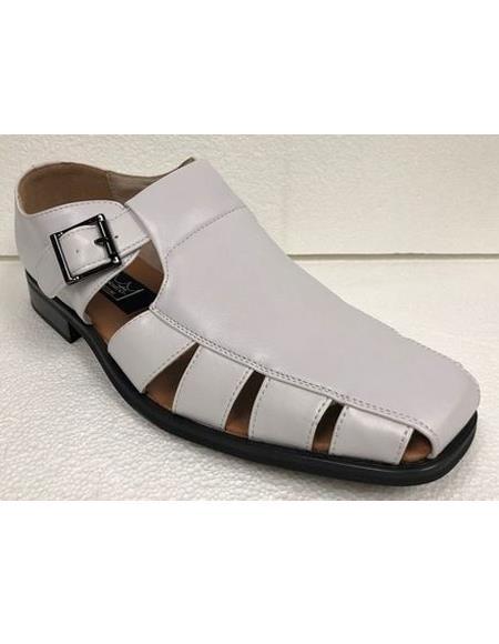 Style#JA17490 Mens Dress Sandals White Closed Toe