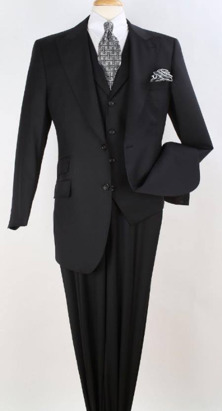 Men's Black Wool Suit