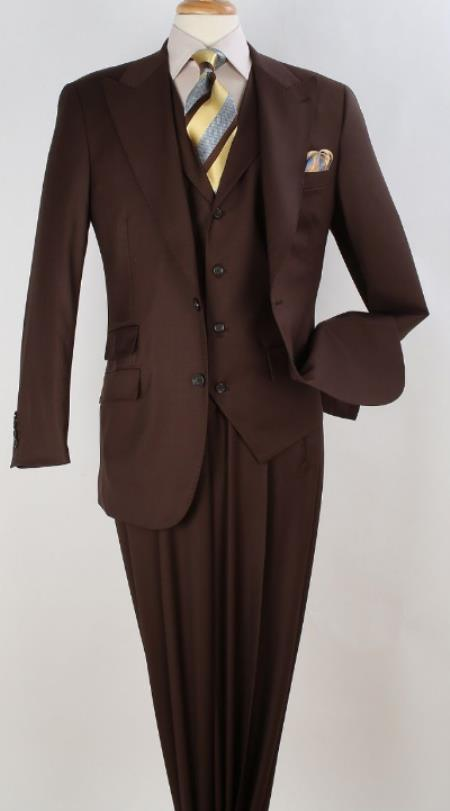Apollo King Pleated Pants Men's 3 Piece Vested 100% Worsted Wool Suit Peak Lapel Brown