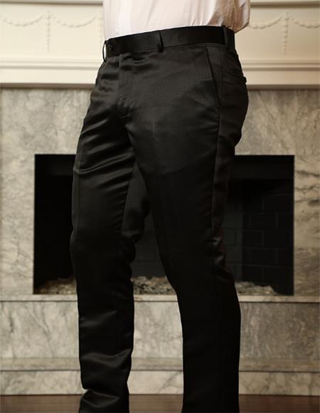 Black Shiny Sateen Slim Fit Pants Flat Front Men's Tapered Men's Dress Pants