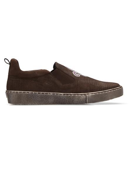 Brown Authentic Genuine Skin Italian Kane Dress Sneaker
