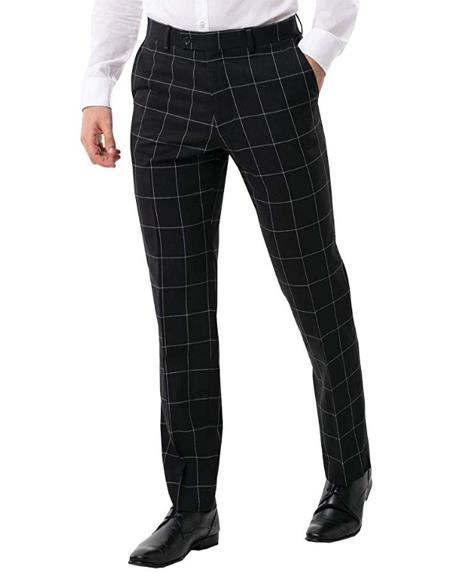 Mens Black Suit Pants Regular Fit White Windowpane Check
