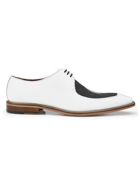 Authentic Genuine Skin Italian Mario, Exotic Stingray and Italian Calf, Blucher Dress Shoes, Style: 3B9 - Black and White