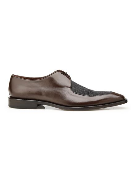 Brown Leather Lining Exotic Stingray Blucher Dress Shoes