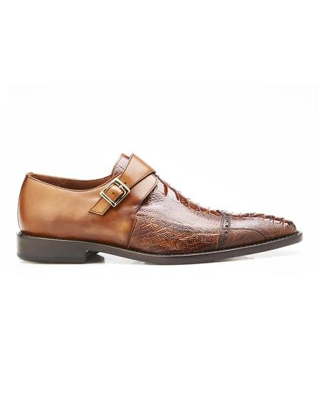 Authentic Genuine Skin Italian Salinas, Genuine Ostrich and Italian Calf Dress Shoes, Style: 3B6 - Antique Almond Camel