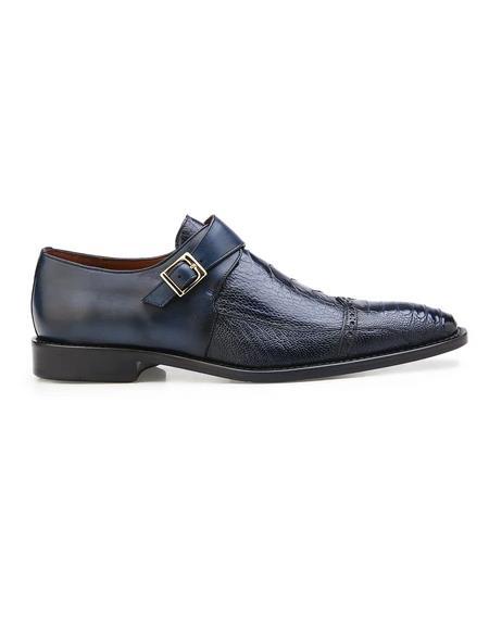 Authentic Genuine Skin Italian Salinas, Genuine Ostrich and Italian Calf Dress Shoes, Style: 3B6 - Blue Safari Navy