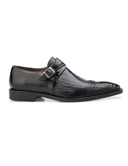 Authentic Genuine Skin Italian Salinas, Genuine Ostrich and Italian Calf Dress Shoes, Style: 3B6 - Black