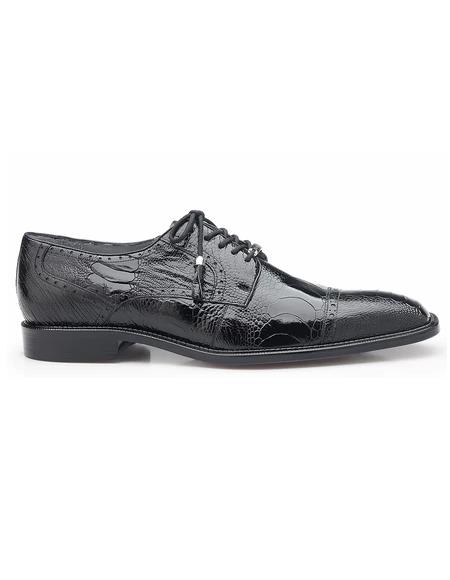 Authentic Genuine Skin Italian Batta, Ostrich Cap-toed Derby Dress Shoes, Style: 14006 - Black