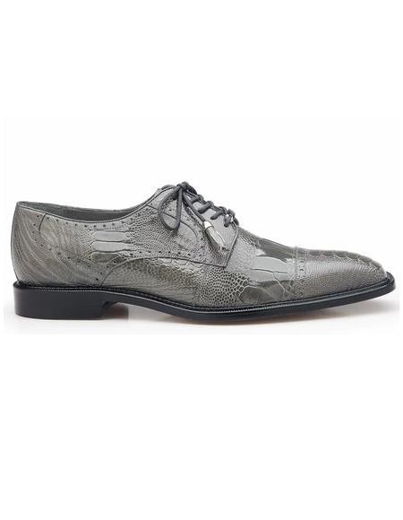 Belvedere Batta, Ostrich Cap-toed Derby Dress Shoes, Style: 14006 - Gray