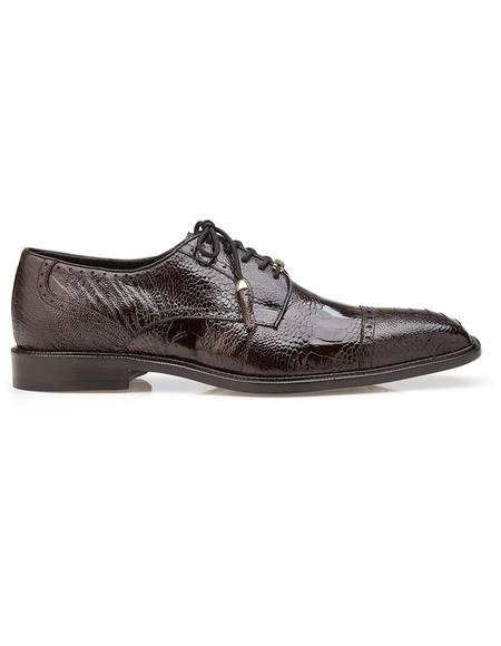 Authentic Genuine Skin Italian Batta, Ostrich Cap-toed Derby Dress Shoes, Style: 14006 - Chocolate Brown