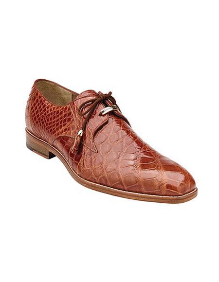 Authentic Genuine Skin Italian Lago, Plain-toed Derby Dress Shoes, Alligator Style: 14010 - Cognac