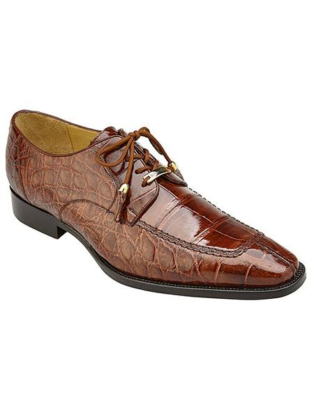 Authentic Genuine Skin Italian Lorenzo, Split-toed Alligator Derby Shoes, Style: B01 - Peanut Brown