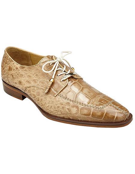Authentic Genuine Skin Italian, Split-toed Alligator Derby Shoes, Style: B01 - Tan Cream