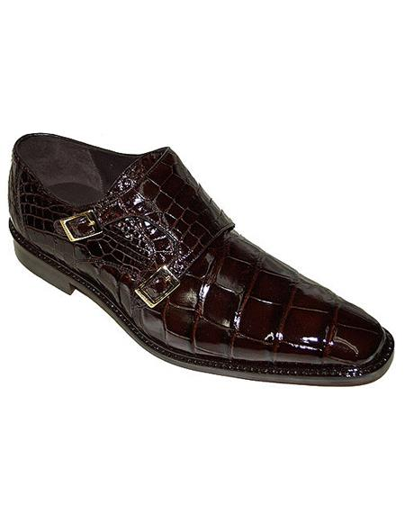 Authentic Genuine Skin Italian Oscar, Double Monk Strap Alligator Shoes Style: B02 - Brown- Men's Buckle Dress Shoes
