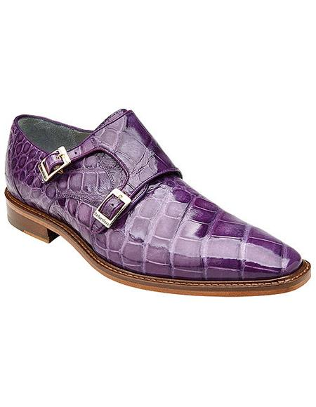 Authentic Genuine Skin Italian , Men's double monk strap Alligator Shoes Style: B02 - Purple- Men's Buckle Dress Shoes