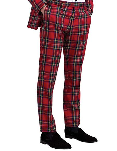 Red Tartan Palid Window Pane Pattern Flat Front Pants Slacks