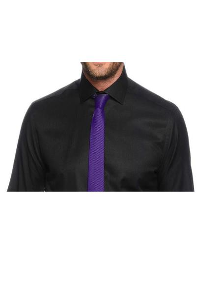 Black Shirt and Purple Tie