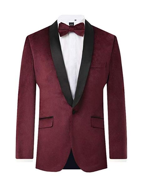 Mens Burgundy Velvet 2 Piece Tuxedo Regular Fit Contrast Shawl Lapel Mens blazer