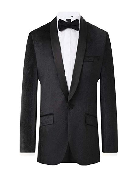 Mens Black Velvet 2 Piece Tuxedo Regular Fit